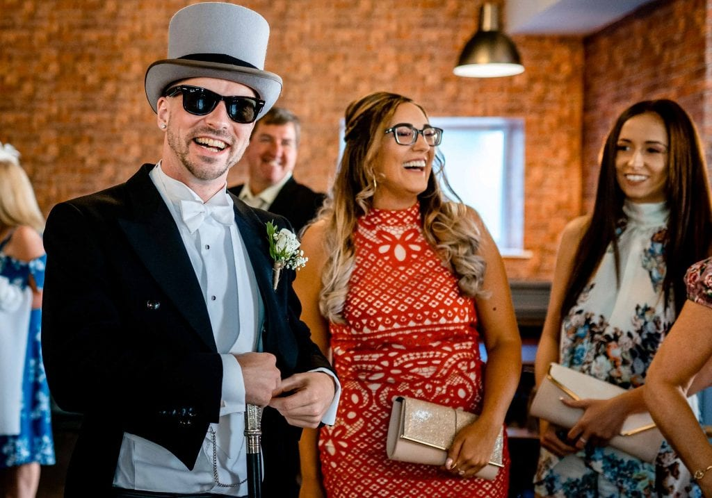 Astley Bank Hotel Botlon Wedding Photography Groom looking chilled by Ollie Gyte Photography