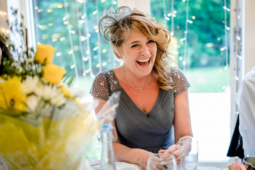 Astley Bank Hotel Botlon Wedding Photography Laughter of Mother of Bride by Ollie Gyte Photography
