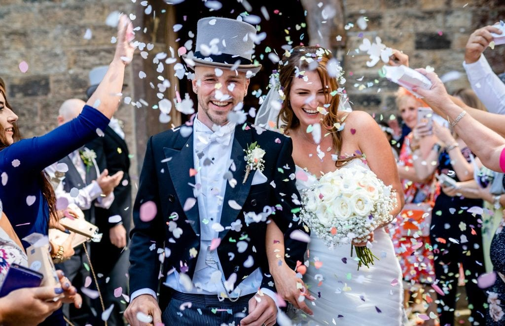 Astley Bank Hotel Botlon Wedding Photography Confetti by Ollie Gyte Photography