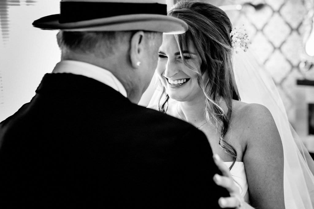 Astley Bank Hotel Botlon Wedding Photography. Bride and Father by Ollie Gyte Photography