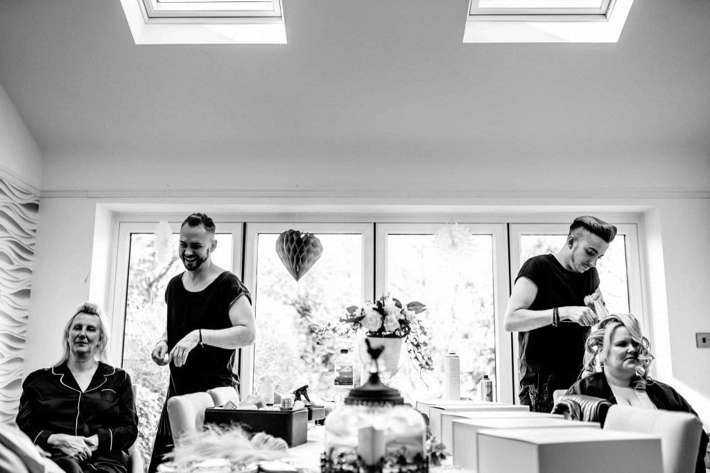 Hairdresser bridal prep Hallmark Hotel Frankby Wirral wedding photographer by Ollie Gyte Photography