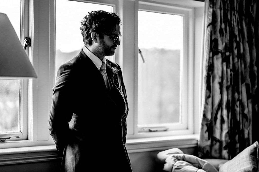 Groom Waiting Lindeth Howe Hotel Windermere Wedding Photographer by Ollie Gyte Photography